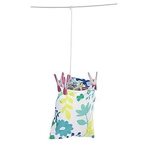 WENKO 3710800100 Wäscheklammer-Beutel, Blumenmuster, Baumwolle, 20 x 20 x 3.5 cm, Mehrfarbig