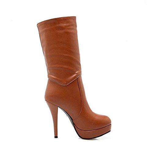 AgooLar Damen Hoher Absatz Weiches Material Mitte-Spitze Eingelegt Ziehen auf Stiefel, Weiß, 37