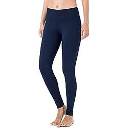 NAVISKIN Pantalones Yoga Forro Polar Mujer Pilates Mallas Deportivas Leggings Largos Bolsillo Elástico Transpirable Training Running Fitness Azul XL