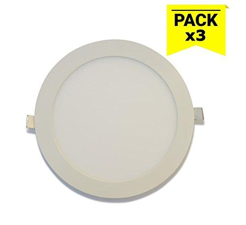 Barcelona Pack de 3 LED, B1272-5-BF, downlight LED circulaire extra-plat à encastrer, 18 W, Blanc Froid, 6000 K