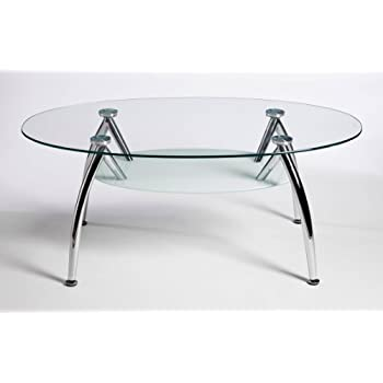 Designer Oval Glass Stainless Steel Coffee Table Amazoncouk