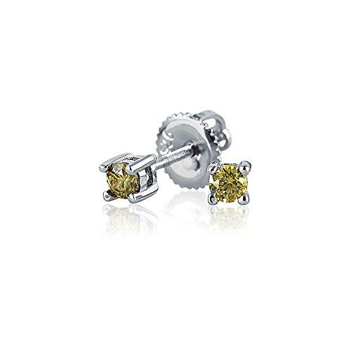 25 Ct Kleine Olive Solitär Zirkonia Cz Ohrstecker Sterling Silber Schraubverschluss Ohrringe Simulierten Peridot (Silber Ohrringe Screwback)