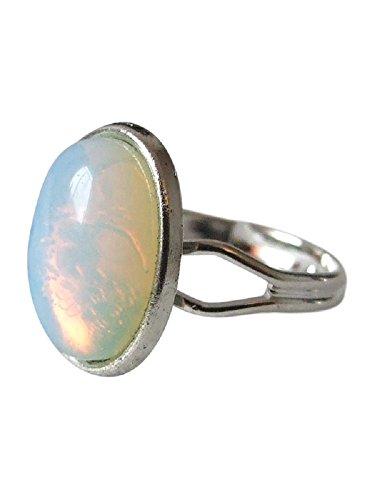 Echte Opalit/Mondstein Edelstein Einstellbarer Ring. Größe 52 bis 55 Mondstein Ring Größe 10
