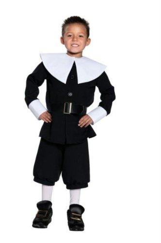 Halloween Kostüm Party Kleidung Festival Fasching Karneval Cosplay Retro Mode Fun Kinder Junge Kostüm Pilgrim Boy (Jacke+Kragen+Hose+Gürtel) - Kindergröße S (Für Kinder Kostüme Pilgrim)