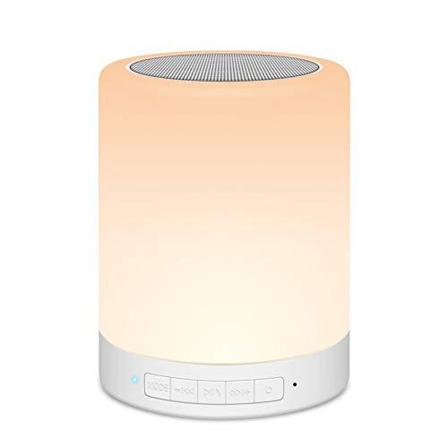 OOFAY TAPS Multicolor Lampe de Chevet LED Touch Portable - avec Haut-Parleur Bluetooth, Dimmable Couleur Veilleuse, De Plein air Table Lampe avec Controle Tactile, Cadeau pour,90 * 115(mm)
