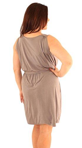 Mesdames Tie nouvelle ceinture col bénitier robe de soirée sans manches 46-52 Moka