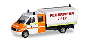Herpa 094979 Mercedes-Benz Sprinter - Cabina Doble con Lona de Coche de Bomberos y Camiones de Rene, en Miniatura, para coleccionar y como Regalo, Multicolor