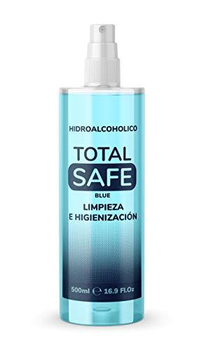 Total Safe 500ml Spray | Ideal para una higiene profunda de manos - Hidroalcoholico envase con Aerosol Blue | Antiséptico para desinfectar cualquier superfice