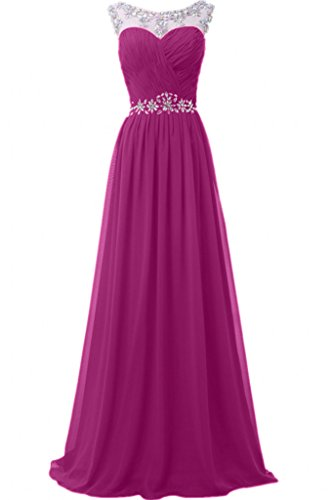 Promgirl House Damen 2017 Glamour Steine Chiffon A-Linie Abendkleider Cocktail Hochzeits Ballkleider Lang Pink