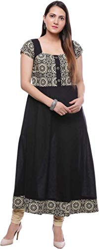 Women Printed Anarkali Kurta (Black, Beige) XL- Size -
