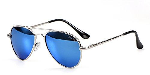 Miuno Kinder Sonnenbrille Metalgestell Pilotenbrille für Jungen und Mädchen mit Etui 4025k (Hellblauverspiegelt/Silbergestell)