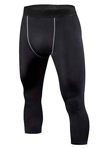 ETAOLINE Men's Compression 3/4 Running Pants Base Layer Tights Leggings
