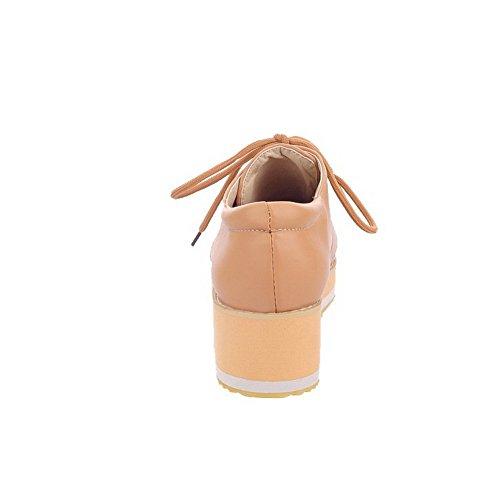 AgooLar Femme Matière Souple Lacet Rond à Talon Bas Couleur Unie Chaussures Légeres Abricot