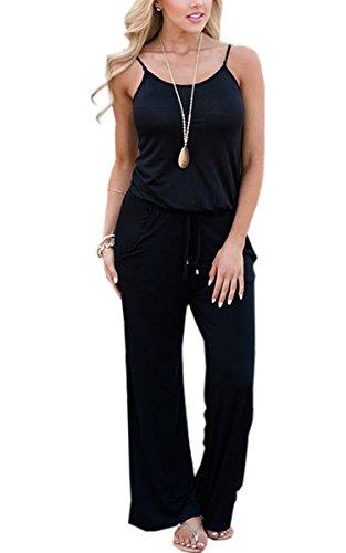 ECOWISH Jumpsuit Damen Elegant Sommer Hosenanzug Blumenmuster Ärmellos Overall Romper 0900Schwarz XXL