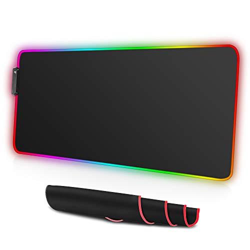 RGB Mauspad, 800*300mm Gaming Mauspad mit 12 LED Farben Soft Extended PC Mouse Pad Large Rutschfeste Gummibasis Schreibtischunterlage Computer Tastatur Matte