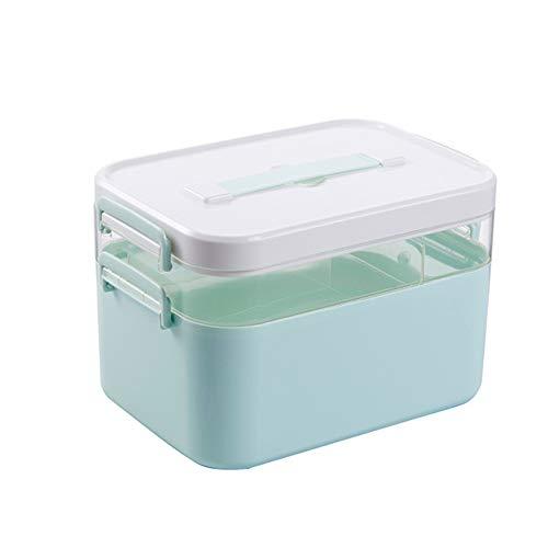 Medizin-Box Nach Hause Multifunktions-Zweischicht-Notfall Tragbare Medizin-Box Aufbewahrungsbox Staub,Blue,L (Trockener Kasten-schrank)