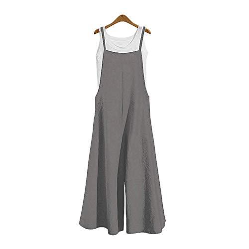 DOTBUY Damen Latzhose Jumpsuits Playsuit Overall mit Taschen Sommer Casual Elegant Loose Baggy Leinen Lange Wide Leg Hosen (2XL,Grau)