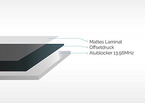 RFID Schutzhülle Blocker | 12 x | beschriftbar & wasserabweisend | 99,9% Ausleseschutz! | Kartenhülle für EC-Karte, Kreditkarte, Bankkarte, Bankomatkarte | Ausweishülle für Reisepass | NFC Schutz