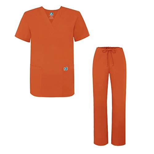 Unisex-Schrubb-Set - Medizinische Uniform mit Oberteil und Hose 701 Color MND   Talla: S - Orange Scrub Hose