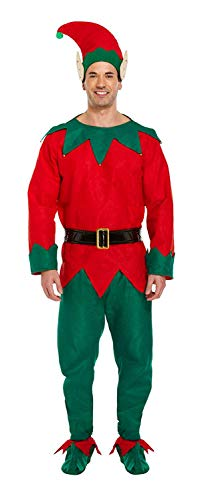 Costume Fancy Dress Xmas Elf (Verde/Rosso)