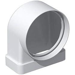 coude plat pvc rigide - rectangulaire 55 x 220 mm vers rond 125 mm