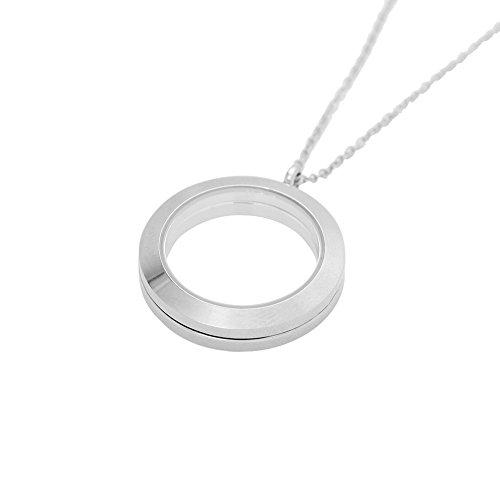 JOJO e Lin galleggiante magnetico rotondo medaglione ciondolo 30mm con catena rolo Argento Medio gioielli fai da te accessori