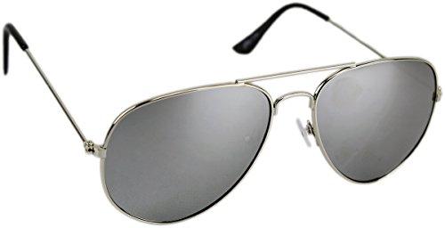 Klassische Pilotenbrille Unisex Sonnenbrille Fliegerbrille Pornobrille in vielen Farbkombinationen verspiegelt. GYD verschiedene Modelle. (Silber/Silber (Sonnenbrille Hip Hop)