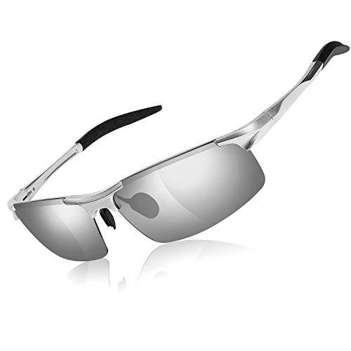 GVDV Sonnenbrille UV400 Schutz Polarisierte Sonnenbrille Fahrerbrille Rechteckige Al-Mg Metall Rahme Ultra Leicht, HD Nachtsicht, Blendung