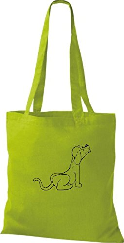 ShirtInStyle Stoffbeutel Hunde Motive Rasse Hund Lustige Tiere Züchter diverse Farbe kiwi