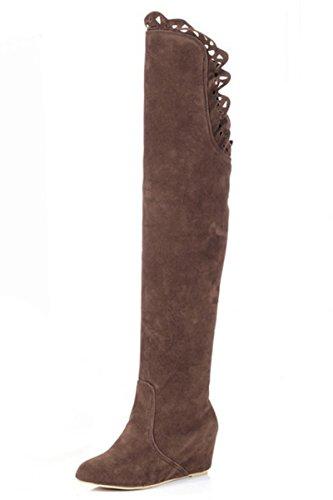femme bottes - SODIAL(R)femme mode dentelle elastique bottes brun 38