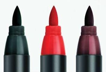Edding 4200 Porzellan-Pinselstift 1-4 mm,3 Farben rot, schwarz, braun