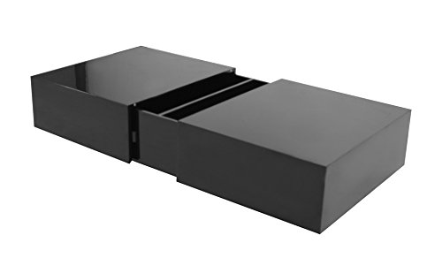 designement Tanza Table Basse Laqué Noir 120 x 70 x 24 cm