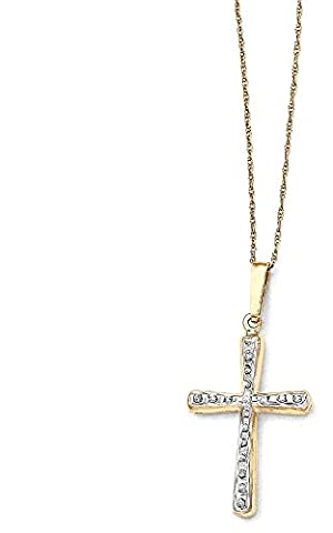 IceCarats 14k Yellow Gold Diamond Fascination 18 Inch Cross Religious Chain Necklace Crucifix
