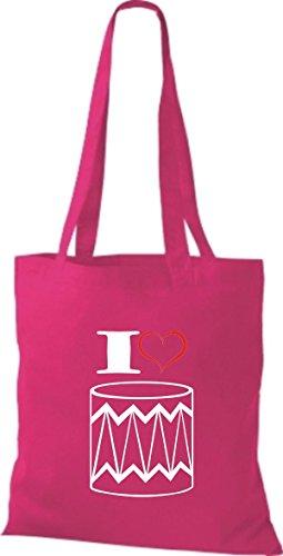 Shirtstown Stoffbeutel Musik I love Trommel pink