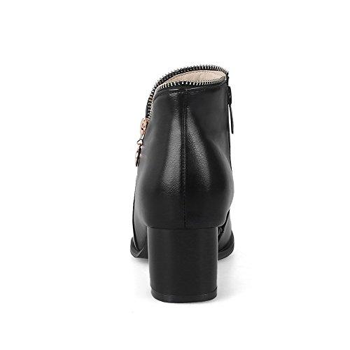 Zip E Solido Corre Lana Destro Stivali Nero Rotondo Colore Donna Voguezone009 Tallone Fine 46fBwZWq