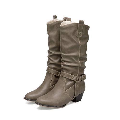 Buckle Mid High Boot - DANDANJIE Womens Combat Boots Block Heel
