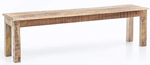 FineBuy WOHNLING Esszimmerbank WL5.082 Braun 120x45x38 cm Mango Massivholz Küchenbank | Holzbank Landhausstil Braun | Bank für Esszimmer-Tisch Klein | Essbank Holz Rustikal | Sitzbank für Küchentisch