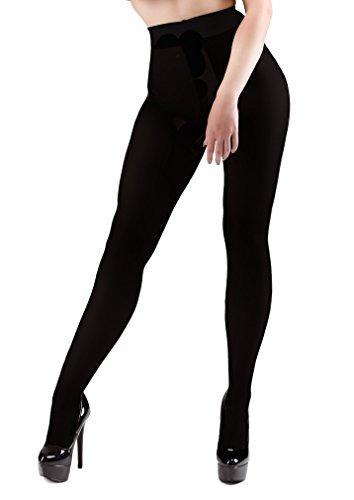 Miss Naughty 100 Denier Blackout Strumpfhose mit offenem Schritt - One Size bis XXL - Black-XXL (Strumpfhose Denier 100)