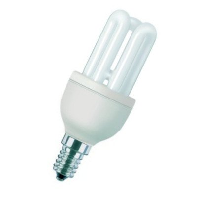 """5 Pack Philips Genie 8W =40W Low Energy Saving Light Bulbs, SES E14 Screw Cap, Low Energy CFL Lamps, 10 Years, Warm White 240v """"A"""" Rated Five Lamps"""