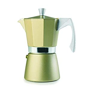 IBILI Espresso Coffee Maker Evva Golden 9 Cups, Aluminium One Size