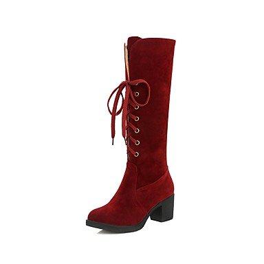 Rtry Femmes Chaussures En Cuir Nubuck Printemps Fluff Confort Doublure Bottes Chunky Talon Bout Rond Genou Bottes À Lacets Pour Casual Vin Vert Us9 / Eu40 / Uk7 / Cn41
