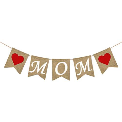 (Amosfun Mutter Banner Muttertag Party Zeichen Garland Zubehör Dekore Sackleinen Flaggen Banner)