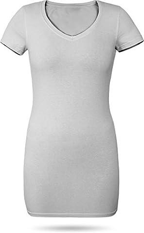 Figurbetontes Longshirt mit V-Ausschnitt - von XS bis 3XL Farbe Grau Größe XXL