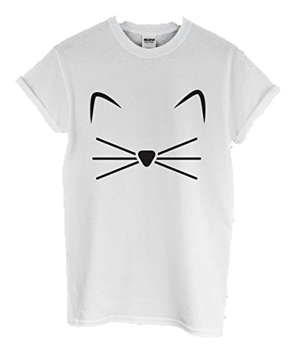 Book Box: New Unisex KITTY KITTEN T-SHIRT Top MEOW Feline Puss Crazy Cat Lady Grumpy Hipster (SMALL 8, WHITE)