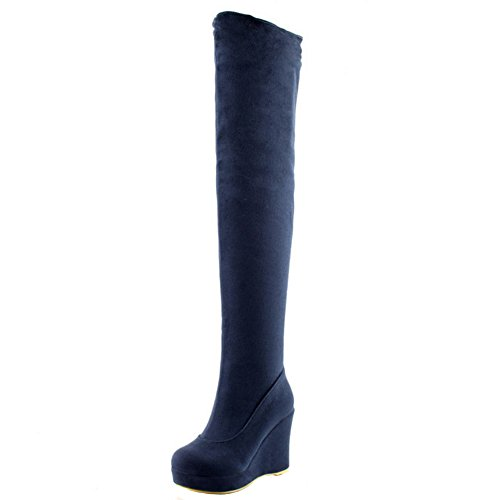 Indossando Blu Piattaforma Donne Calde Stivali Razamaza qRREBA