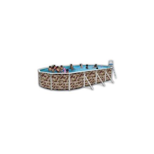 Piscine acier ovale camuflaje 5,50x3,66 hauteur 1,20m - toi 8670