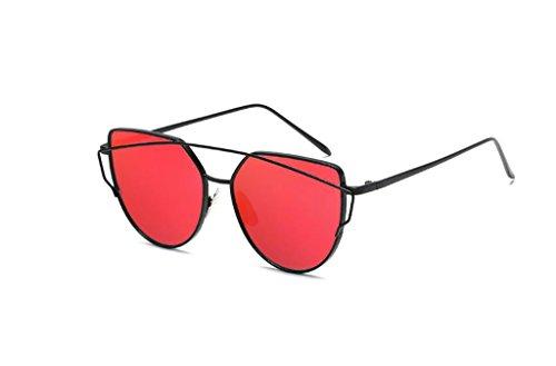 Rétro en métal couleur film Lunettes Anti-ultraviolet Lunettes de soleil + Lunettes (couleur : rouge)