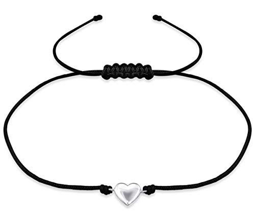 Milosa Damen Armband 925er Sterling Silber, Nylonschnur Größenverstellbar - Geschenk für Frauen & Mädchen - vers. Motive, Auswahl:Herz Schwarz Silber