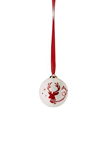 Hutschenreuther Merry Christmas Nordic Red Petit Boule Porcelaine Cerf/Ø 6 cm, Porcelaine, Rouge, 7 x 7 x 9 cm