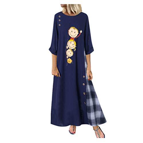 Lulupi Große Größen Damen Maxikleider, 2019 Langärmliges Kleid Langes Casual Hängerkleid Leinen Maxi Dress